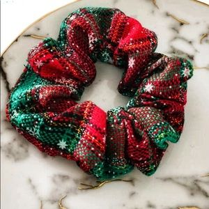 4/$16 Red and Green Plaid Snowflake Scrunchie